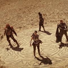 Sif y los Tres Guerreros llegan a la Tierra.