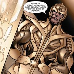 Thanos le da consejos a Nebula sobre la debilidad.