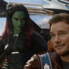 Gamora habla con Quill antes de abandonar Xandar.