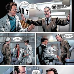Stark busca a Pym en su laboratorio.