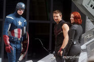 Captain America with Hawkeye and Black Widow Behind the Scenes