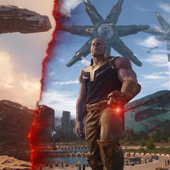 Thanos usa la Gema de la Realidad para narrarle a Strange el pasado de Titán.