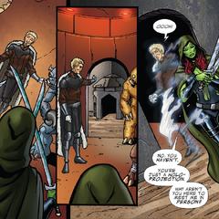 Gamora se encuentra con el holograma de Tivan.