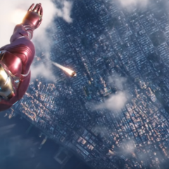 Stark volando en dirección hacia la Nave-Q.