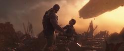 Thanos stabs Iron Man