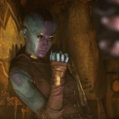 Nebula observa a Taserface enviar al espacio profundo a los Devastadores leales de Yondu.