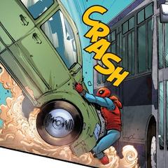 Parker detiene un automóvil de chocar contra otro vehículo.