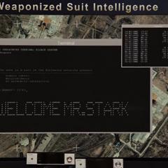 Stark manipula las pantallas del Senado.