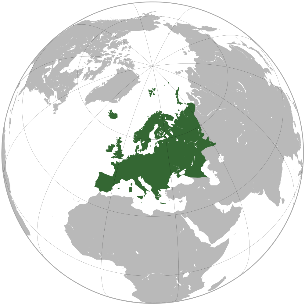 europe on the world map