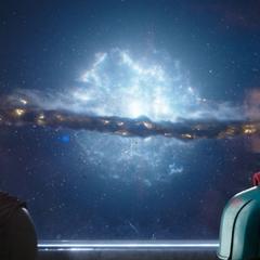 Thor viendo la destrucción de Asgard.