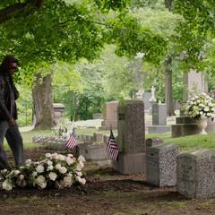 Fury aprecia su tumba junto a Rogers y Wilson.