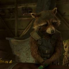 Rocket y Groot le rinden homenaje a Yondu.