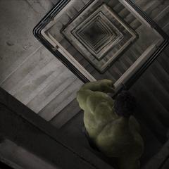 Hulk bajando por las escaleras.