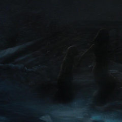Los aldeanos huyen de los Gigantes de Hielo.