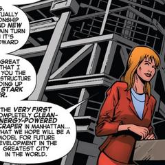 Potts anuncia la creación de la Torre Stark.