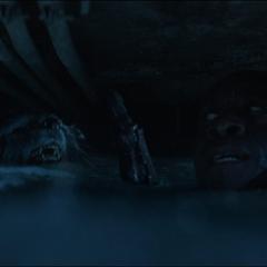 Rocket y Rhodes a punto de ahogarse.