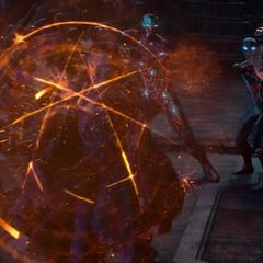 Strange protege a Stark y Parker creando un escudo.