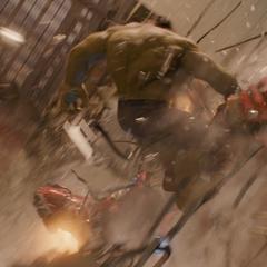 Hulk golpea al Hulkbuster contra los edificios.