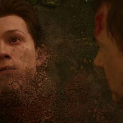 Parker muere desintegrado por el chasquido de Thanos.