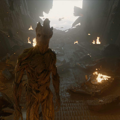 Groot nota que el Dark Aster va a estrellarse.