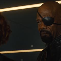 Romanoff y Fury hablan de la desaparición de Banner.