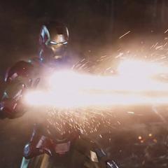 Stark contraataca disparando sus rayos respulsores.