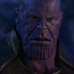Thanos tras lanzar a Gamora del acantilado.