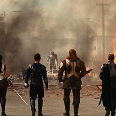 Hogun y sus aliados confrontan al Destructor.