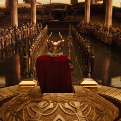 Odín en su trono durante la ceremonia.