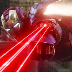 Stark dispara sus láseres contra el Leviatán.