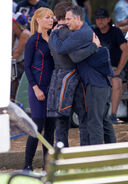 Robert Downey Jr. and Mark Ruffalo hug on the set of Avengers 4
