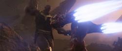 AIW - Iron Man pushes Thanos