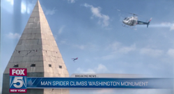 Man Spider Climbs Washington Monument (FOX 5 News Report)