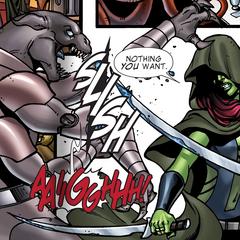 Gamora asesina a un forajido en Conjunción.