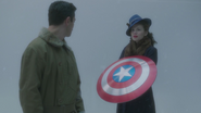 Peggy with Cap's shield