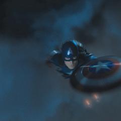 Rogers salta del Quinjet en paracaídas.