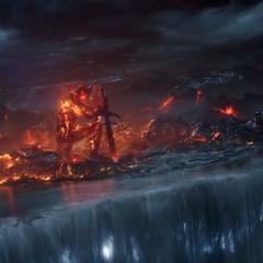Surtur destruyendo Asgard.