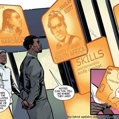 T'Challa informándose sobre la situación de rehenes encabezada por Zanda y Scott.