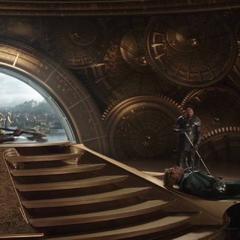Volstagg y Fandral son asesinados por Hela.