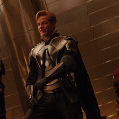 Hogun, Fandral y Volstagg en la coronación de Thor.