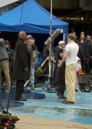 Samuel L Jackson and Chris Evans on set CATFA 01