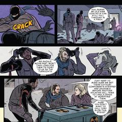 Rogers, Romanoff y Wilson confrontan a los terroristas.
