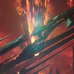 Surtur clava su espada en Asgard y mata a Hela en el proceso.