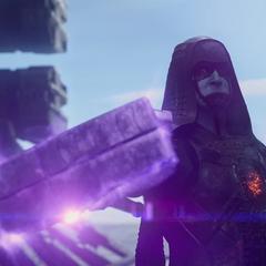 Ronan amenaza a sus enemigos con la Gema.