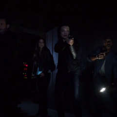 Skye es rodeada con el equipo por los Soldados Ciempiés.