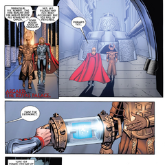 Thor le entrega el Teseracto a Heimdall para reparar el Puente Arcoíris.