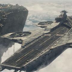 El Helicarrier de S.H.I.E.L.D. llega a evacuar la ciudad.