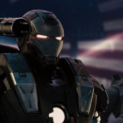 Rhodes en la presentación de la Stark Expo como la Máquina de Guerra.