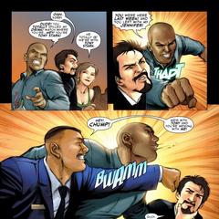 Stark es defendido por Rhodes.