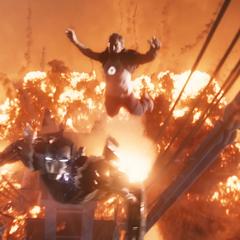 Stark salta de la explosión hacia el Mark XV.